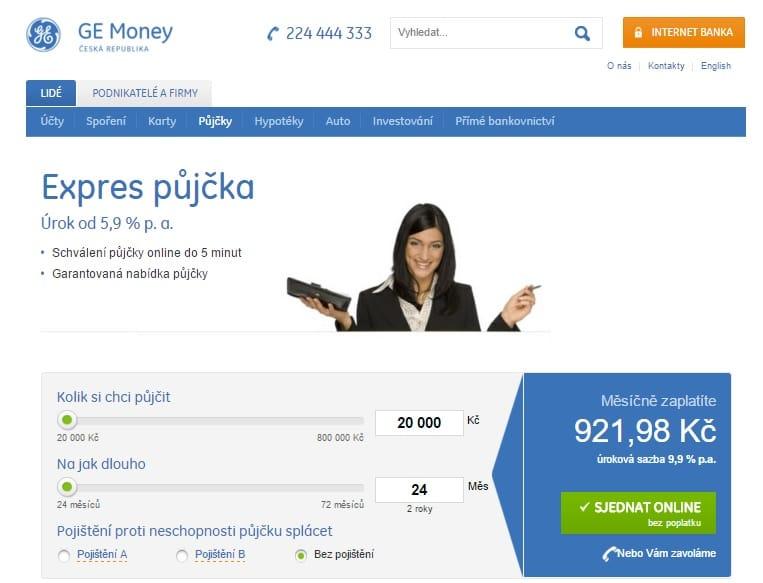 Expres půjčka od Ge Money krok 2