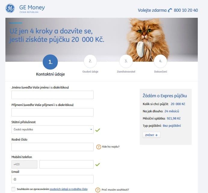 Expres půjčka od Ge Money krok 3