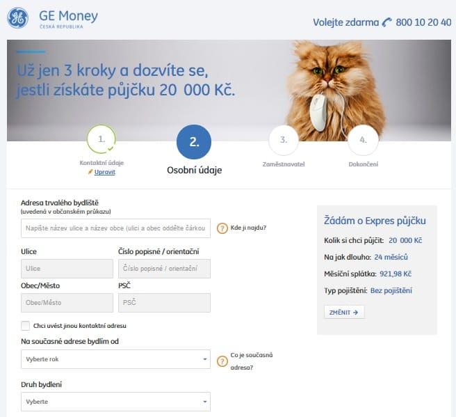 Expres půjčka od Ge Money krok 4