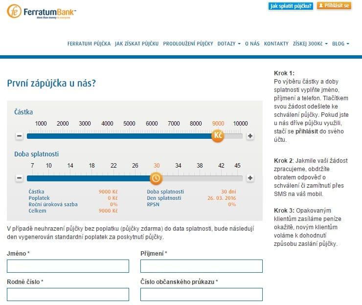 Ferratum půjčka krok 2