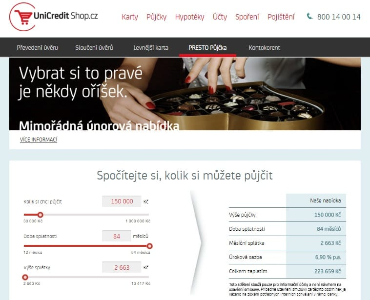 Unicredit bank Presto půjčka krok 1