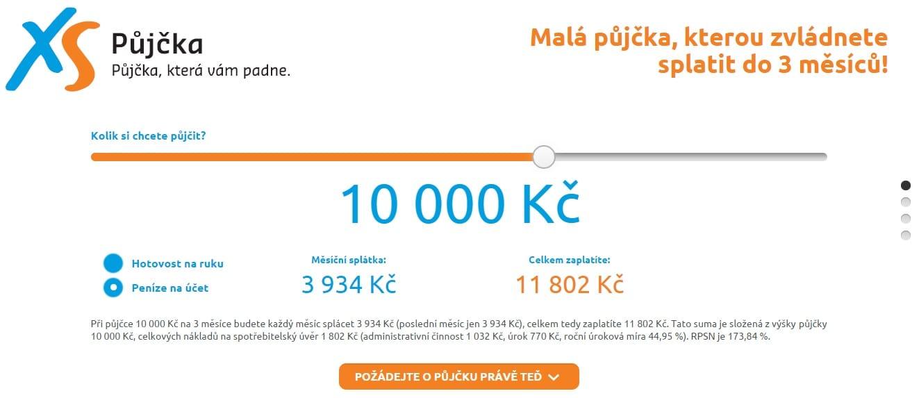 XS půjčka krok 1